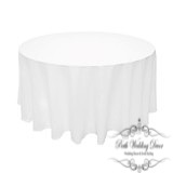 120in:305cm white round table cloth. $18.00 each