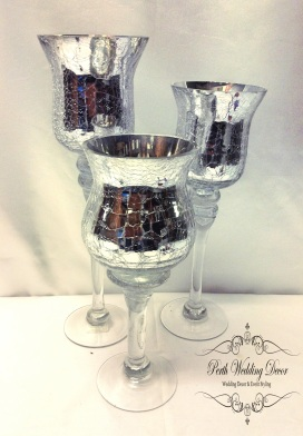3 crackle vases. $12.00 per set of 3