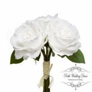 Alice Rose Bouquet x3 Flowers White (28cmH)