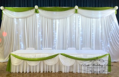 Backdrop with colour feature, lights and kissing balls. 1-3m $180, 3-6m $260, 6-12m $290