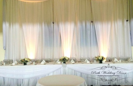 Backdrop with draping and three beam lighting. 1-3m $175, 3-6m $200, 6-12m $225