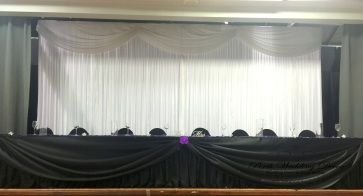 Black skirting & satin draping. 3m-6m $ 18.00, 6m-12m $24.00