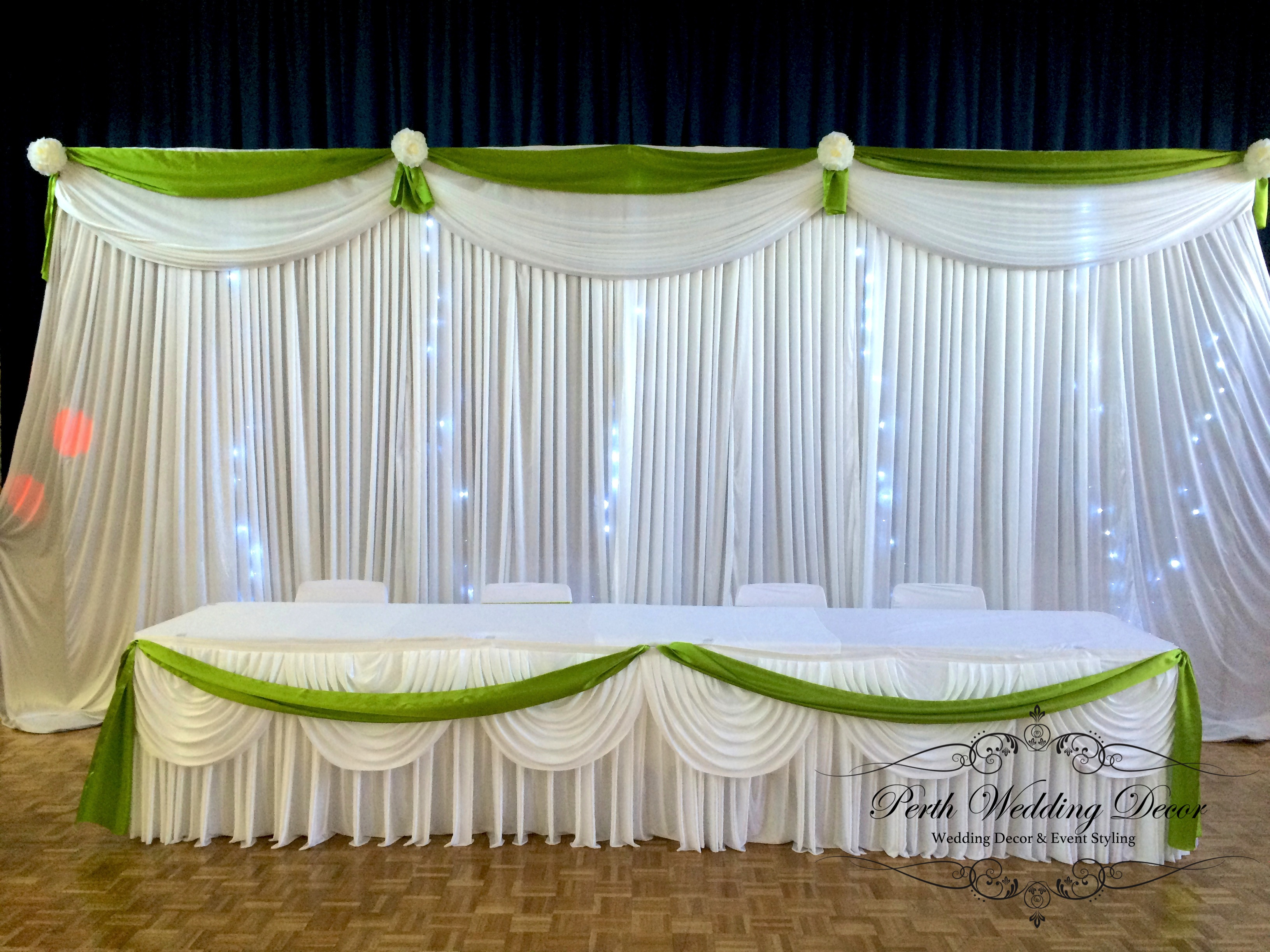 Bridal Table Coloures Draping. 3m 6m $ 18.00, 6m 12m $24.00