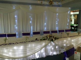 Bridal table skirting, daping and lights. $22.00 each-1