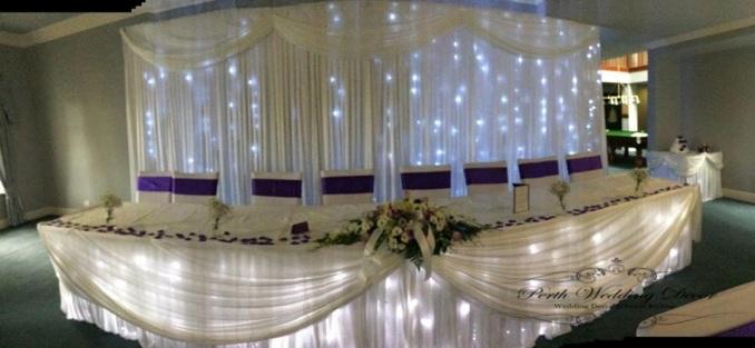 Bridal table skirting, draping and lights. $22.00 each-1