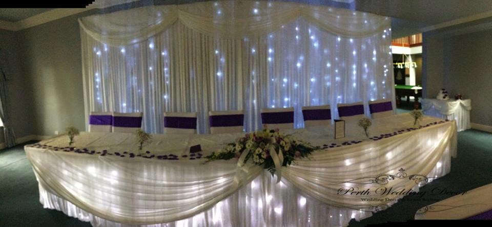 Bridal table skirting, draping and lights. $22.00 each-1