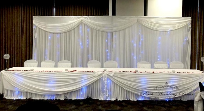 Bridal table skirting, draping & fairy lights.3m-6m $ 20.00, 6m-12m $28.00
