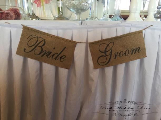 Bride & Groom hessian signs. $2.00 per set