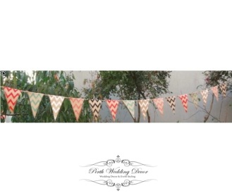 Burlap banner bunting, coloured chevron, 2.8m. $5.50