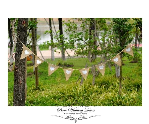 Burlap banner bunting, herats & lace, 1.6m. $5.50
