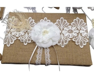 Burlap lace and flower. $15.00 each