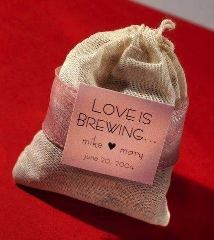 Burlap sack of coffee beans with label & ribbon. $2.95 each