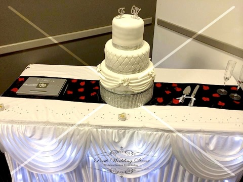 Cake table skirting, draping & fairy lights. $18.00