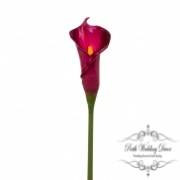 Calla Lily Early Bloom Stem (60cmST) Real Touch Dark Purple