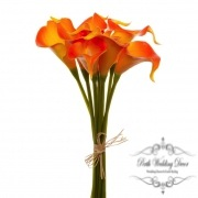 Calla Lily Mini Bouquet (9 Flowers 35cmST) Real Touch Orange