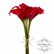 Calla Lily Mini Bouquet (9 Flowers 35cmST) Real Touch Red