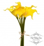 Calla Lily Mini Bouquet (9 Flowers 35cmST) Real Touch Yellow
