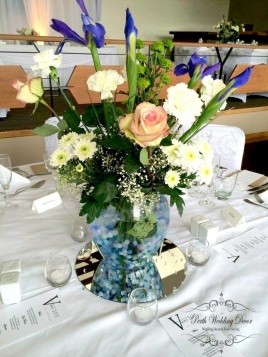 Cath & Dave. $35.00 each including fresh flower arrangment