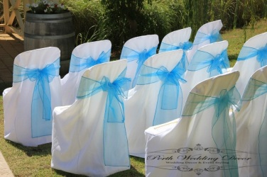 Chair cover with your choice of coloured sash.band. $3.50 each