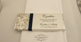 Chocolate bar with ribbon feature and feature side. All aspects are personalised. $3.95 each