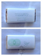 Chocolate name cards with personalised messages front & back. $2.95 each