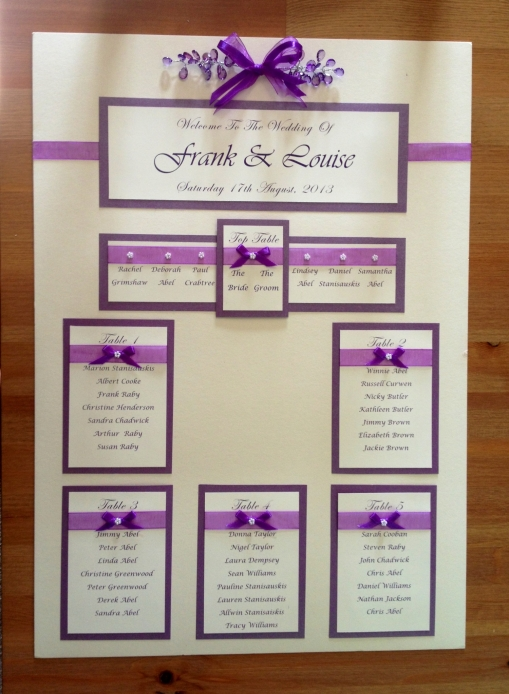 Colour feature seating chart. $35.00