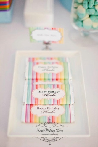 Colourful personalised chocolate bar $2.95 each