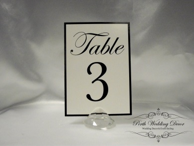 Diamond table number holder. $0.50 each