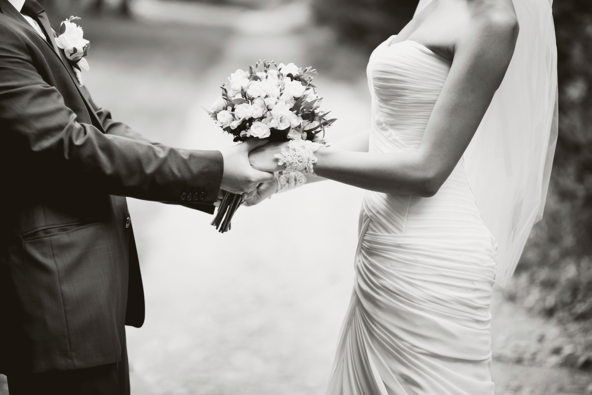 portrait of  young wedding couple