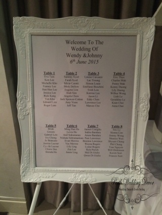 Framed seating chart. $18.00