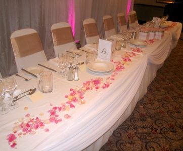 Fresh rose petals scattered across the front of your table. $15.00
