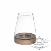 Glass Hurricane w.Natural Wood Base 12Dx13Bx23cmH Clear