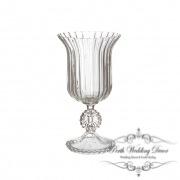 Glass Trumpet Vase Crystal Stripes 17Dx31cmH Clear-1