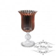 Glass Trumpet Vase Crystal Stripes 17Dx31cmH Copper-1