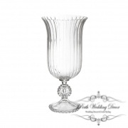 Glass Trumpet Vase Crystal Stripes 19Dx40cmH Clear-1