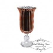 Glass Trumpet Vase Crystal Stripes 19Dx40cmH Copper