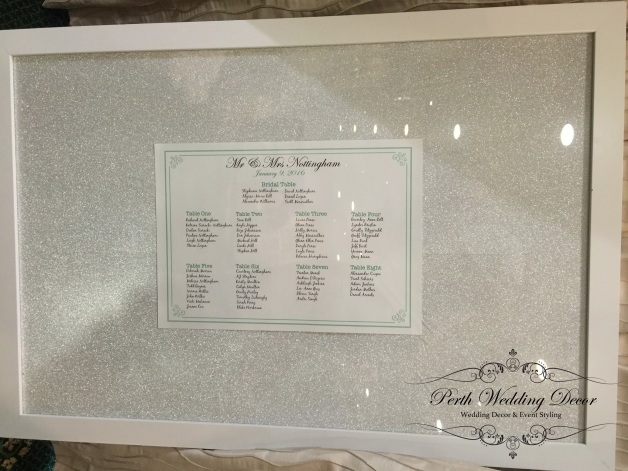Glitter background seating chart. $18.00