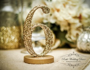 glittered numbers, available in any colour. $2.00 each