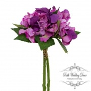 Hydrangea Bouquet x3 Stems Purple (31cmH)