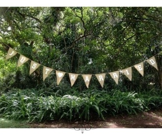 Just Married burlap banner bunting, 3.7m. $5.50