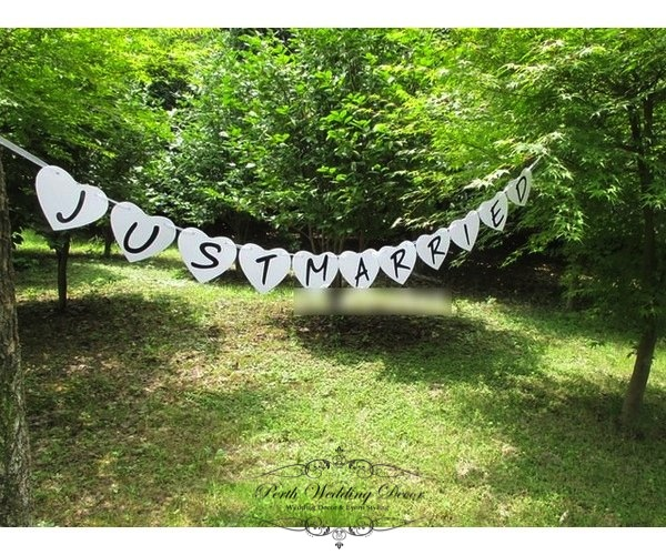 Just Married, white hearts banner bunting, 1.8m. $5.50