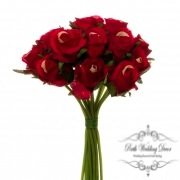 Katie Rose Bouquet with 16 Flowers Bright Red (25cmH)