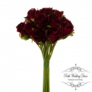 Katie Rose Bouquet with 16 Flowers Dark Red (25cmH)