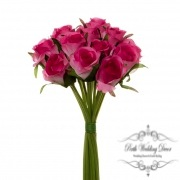 Katie Rose Bouquet with 16 Flowers Hot Pink (25cmH)