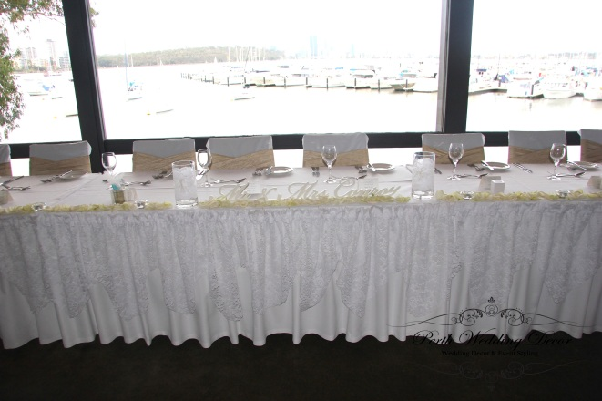 Lace bridal table draping. 3m-6m $18.00, 6m-12m $24.00