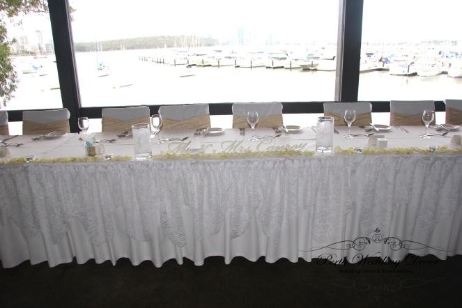 Lace bridal table draping. 3m-6m $18.00, 6m-12m $24.00