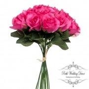 Lavina Rose Bud Bouquet 18 Heads Hot Pink (33cmH