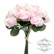 Lavina Rose Bud Bouquet 18 Heads Pink (33cmH