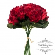 Lavina Rose Bud Bouquet 18 Heads Red (33cmH)