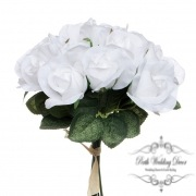 Lavina Rose Bud Bouquet 18 Heads White (33cmH)